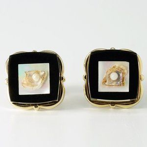 Vintage Laminated Lucite Pearl on Shell Cufflinks